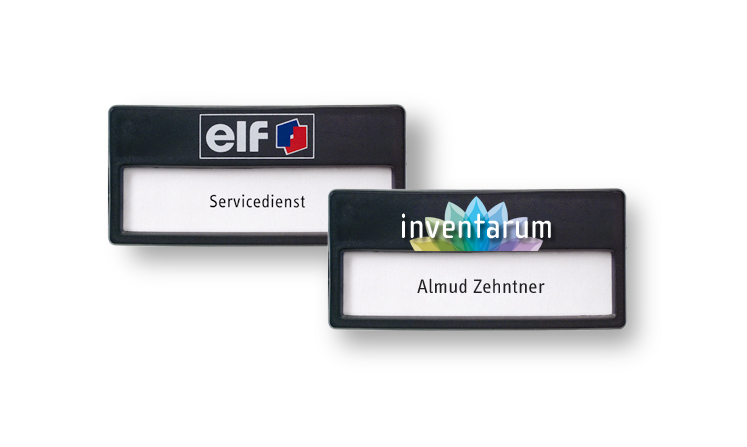 Name badges made of plastic, colour black