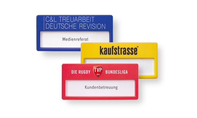 Name badges in many colours