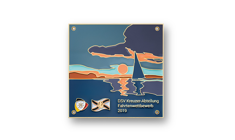 Targhe di metallo con rivestimento colorato per le competizioni veliche DSV