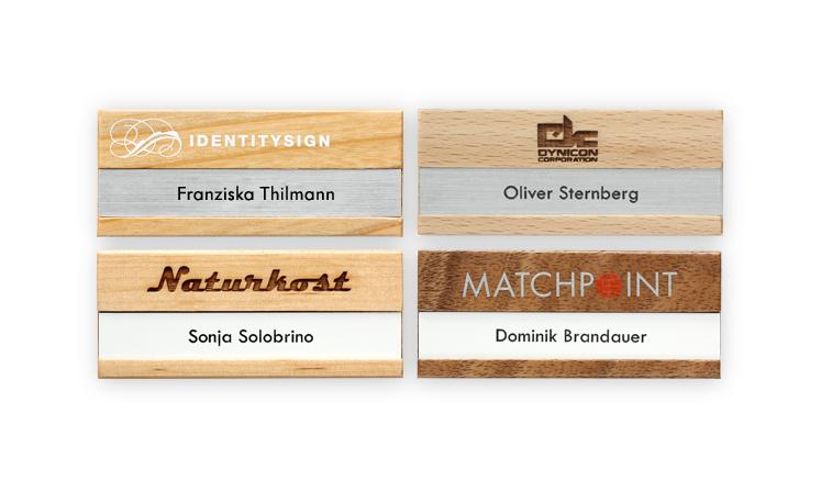 Wood name badges