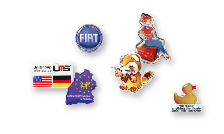 Pin badges with offset printing