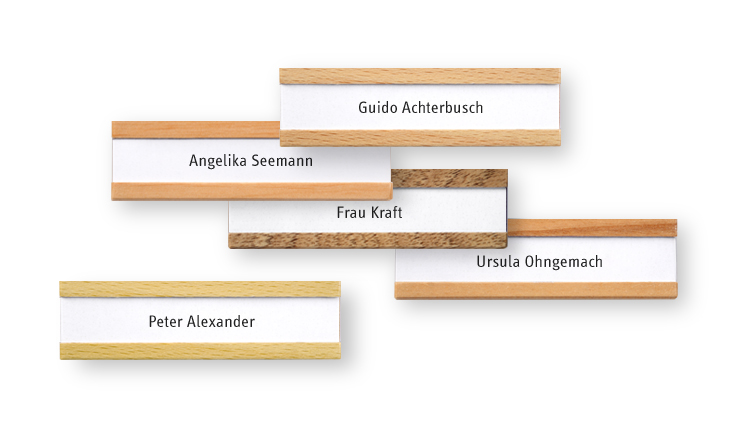 Name badges made of local woods