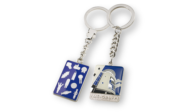 Key ring colored enamelled
