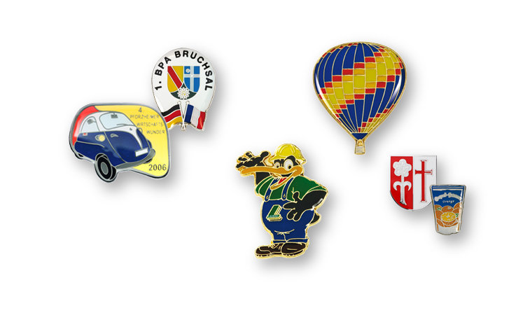 Lapel pins with colour lining