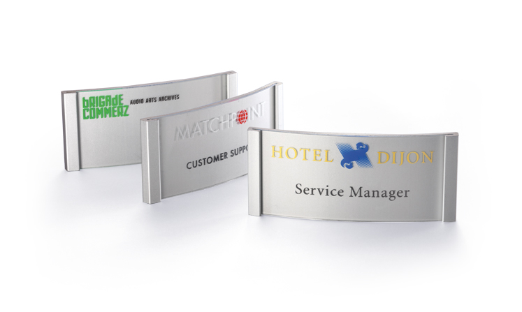 Name badges made of aluminium for print/write-on use