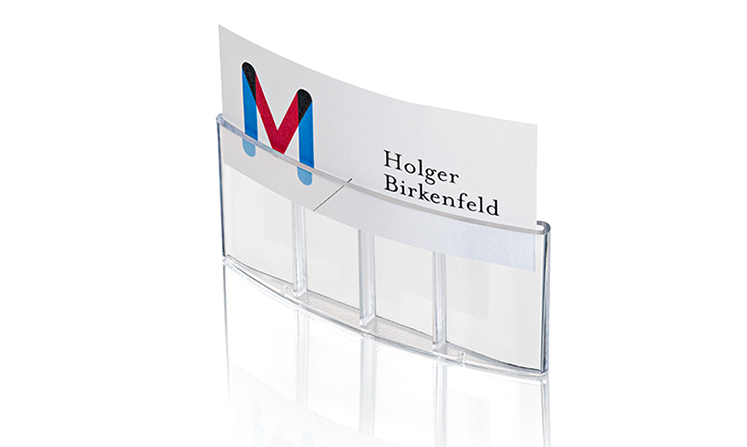 Name badges made of plastic for print/write-on use