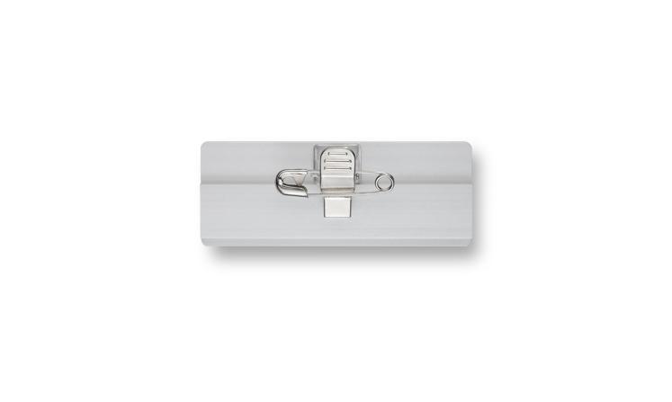 Aluminium name badges with fastener