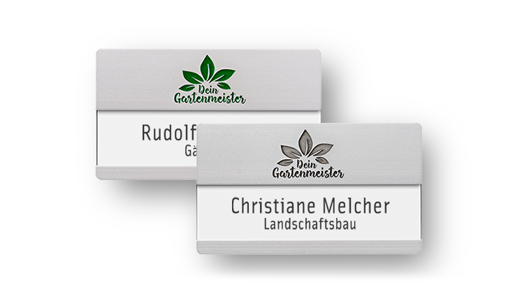 name badges with engraving: for names with additional line & large logos