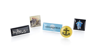 Pin badges with digital printing & clear enamel