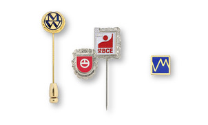 Lapel pins made of precious metals with enamel