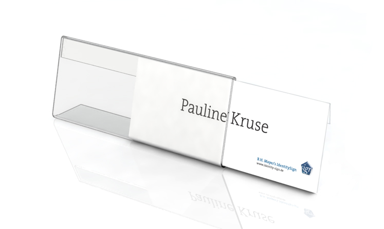 Desk plate, l-shape, 210 x 76 mm with paper inserts