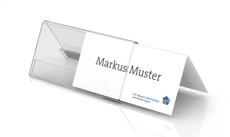 Desk plate, roof shape, 120 x 55 mm with paper inserts