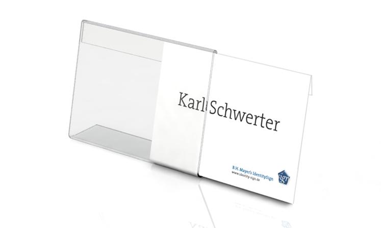 Espositori da tavolo a forma di L, con inserti in carta
