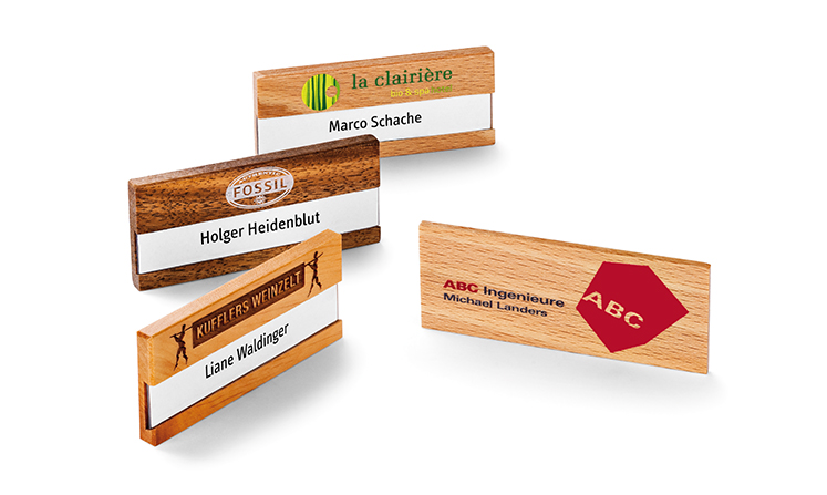 Name badges made of wood