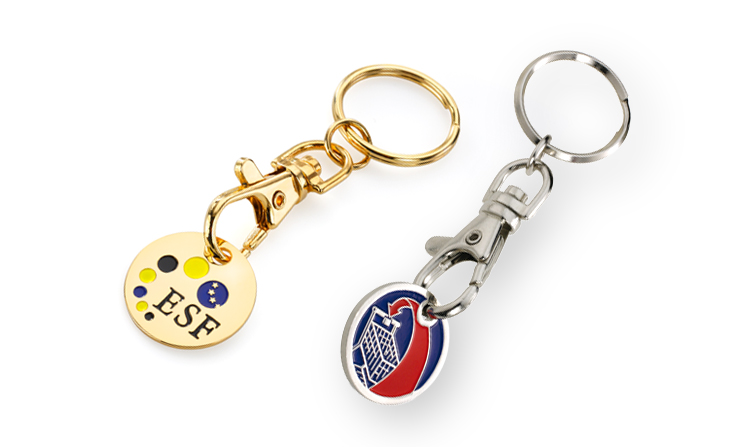 Key ring shopping trolley tokens
