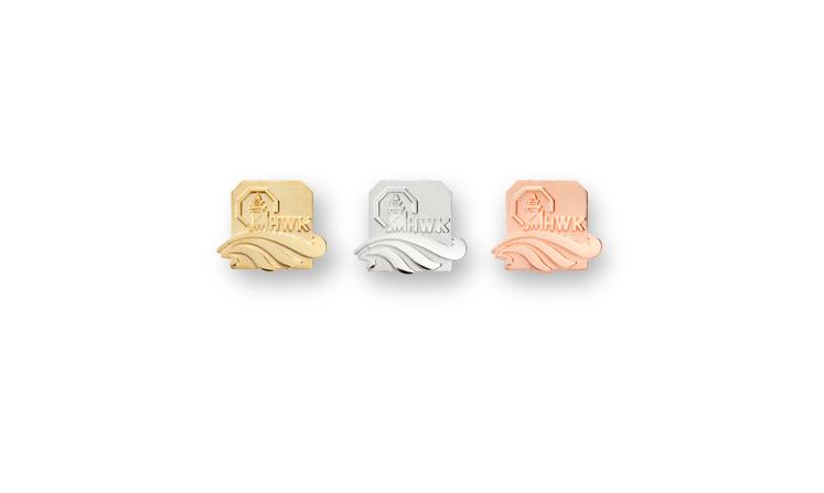 Lapel pins and award pins made of precious metal with laurels