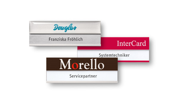 Name badges made of pure aluminium