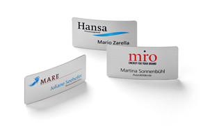 Name badges made of metal