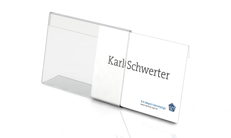 Desk plate, l-shape, 150 x 100 mm with paper inserts