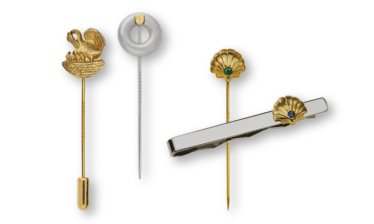 Lapel pins made of precious metal with cast in full 3D design