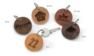 Schlüsselanhänger aus Holz, rund