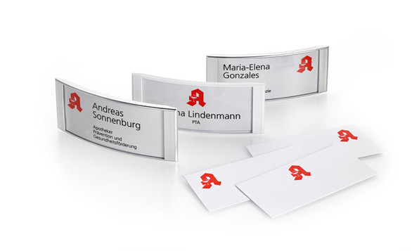 Name badges for pharmacies with printed paper inserts