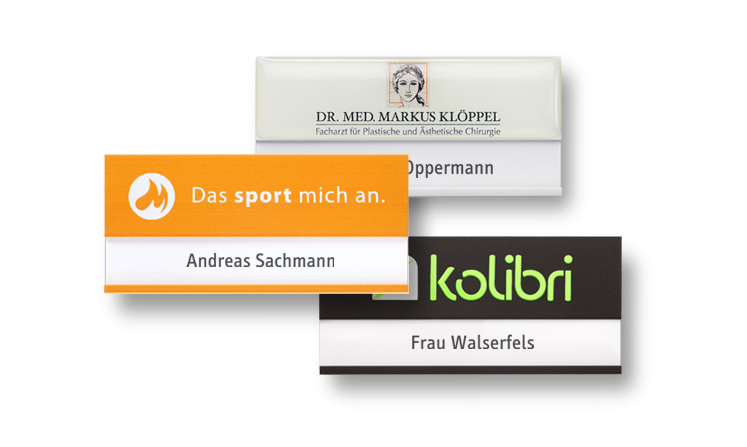 Name badges made of lightweight aluminum