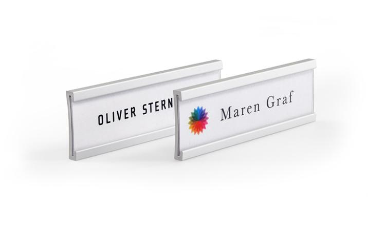 Curved aluminium name badges