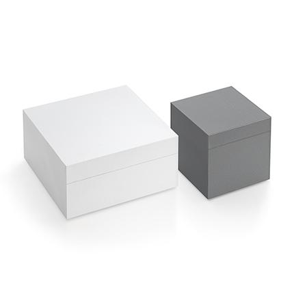 MDF-Box in Weiß und Grau