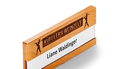 Name badge made of wood