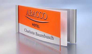 Aluminium name badges for print/write-on use
