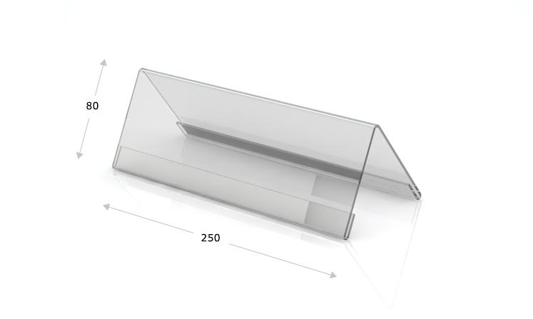 Tischaufsteller Dachform 250 x 80