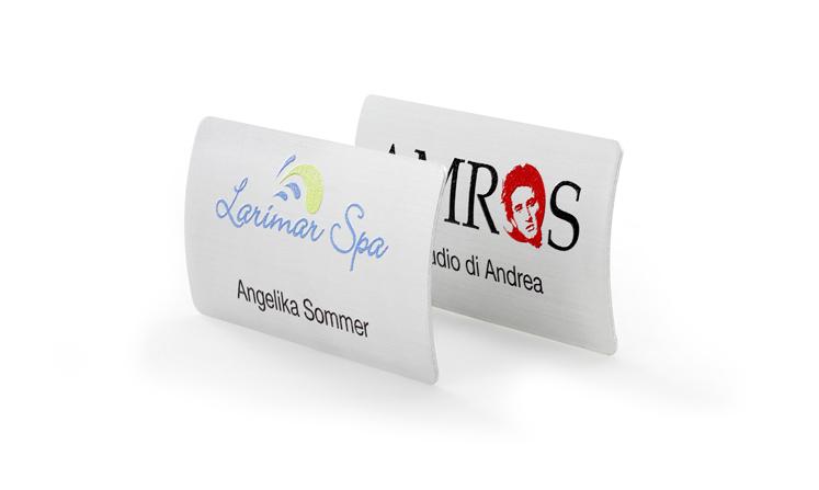 Name badges elegantly curved