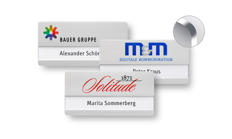 Name badges made of aluminium with round corners