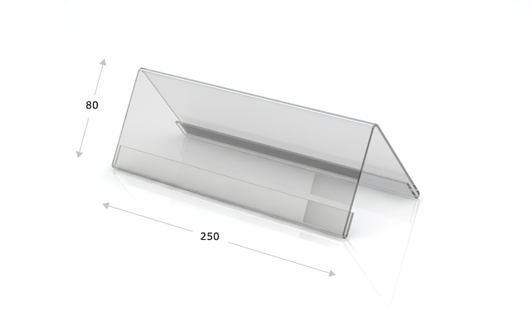 Desk plate, roof shape, 250 x 80 mm