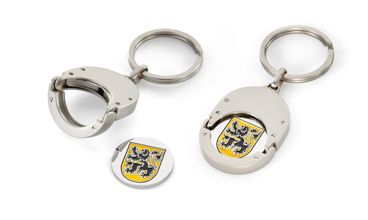 Key rings with shopping trolley tokens