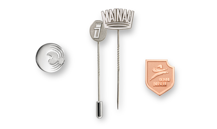 lapel pins in matt and shine embossing