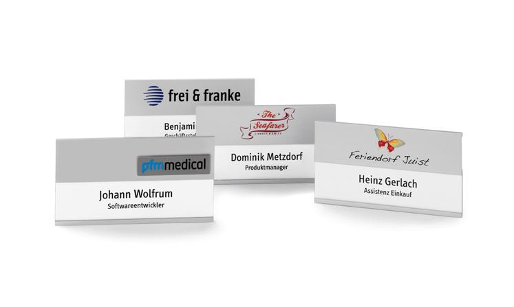 Namensschilder für Namen mit Zusatzzeile
