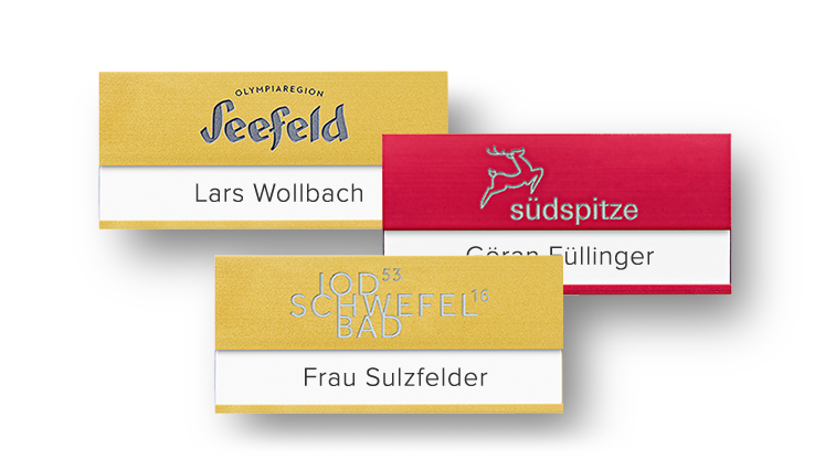 Aluminium-Namensschilder mit beständiger Gravur