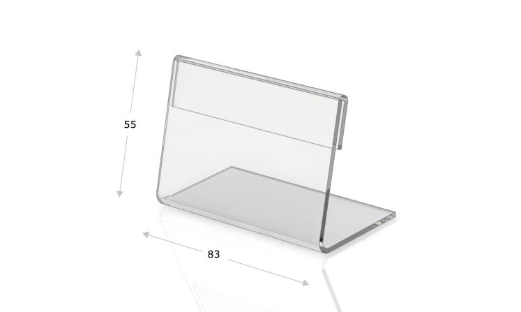 Espositori da tavolo a forma di L, 83 x 55 mm