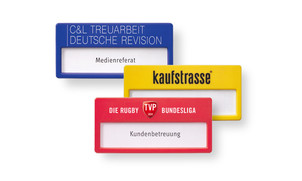 Name badges in colourful customised designs