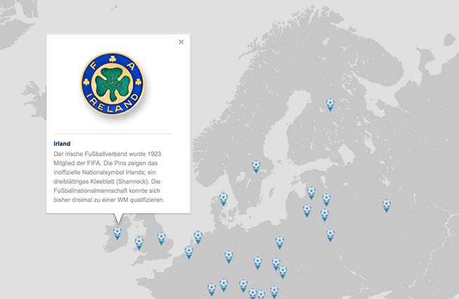 Weltkarte der Fußballpins