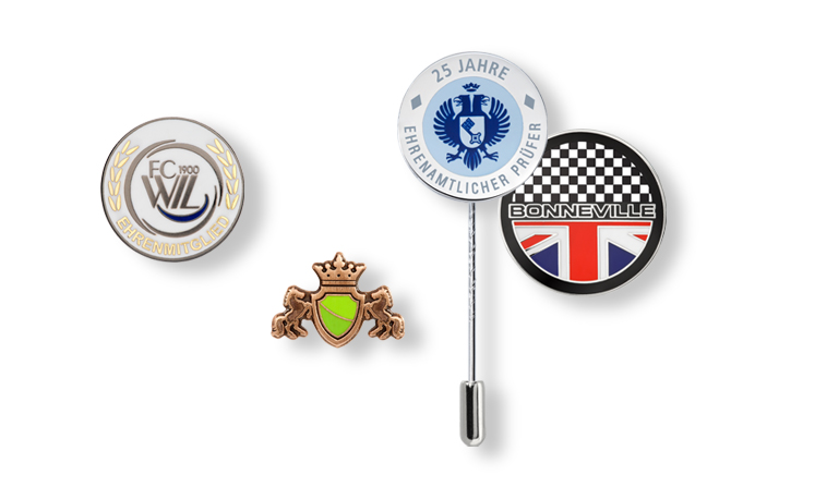Pin badges and lapel pins with wire-enamelled colouring