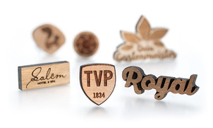 Engraved wooden pin badges