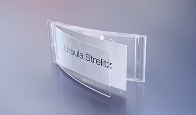 Name badges made of translucent plastic
