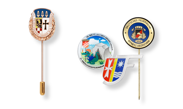 Award pins and lapel badges for fire brigades