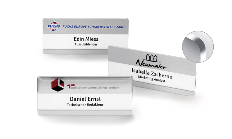 Name badges with rounded corners