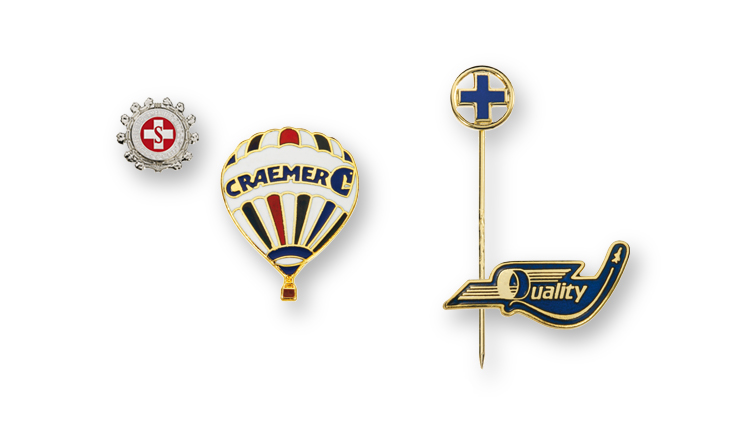 lapel badges and pin badges fire-enamelled