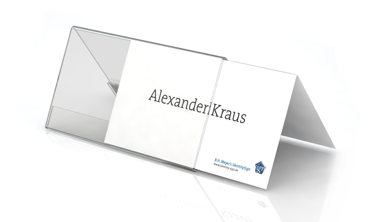 Desk plate, roof shape, 200 x 100 mm with paper inserts