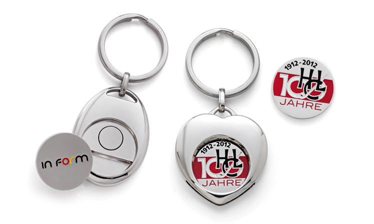 Key rings with shopping trolley tokens with logo